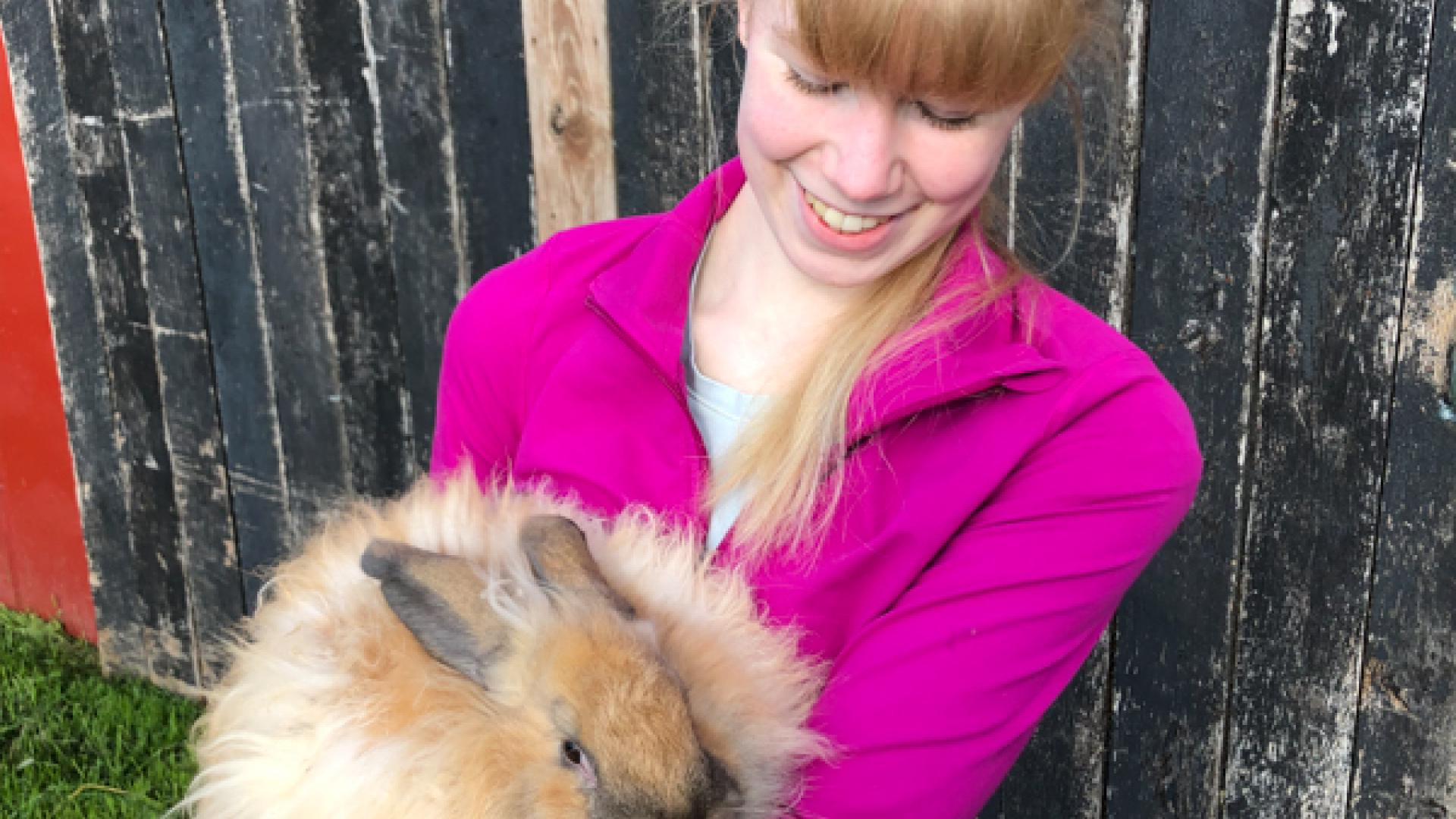 Claudia Brefeld with a rabbit