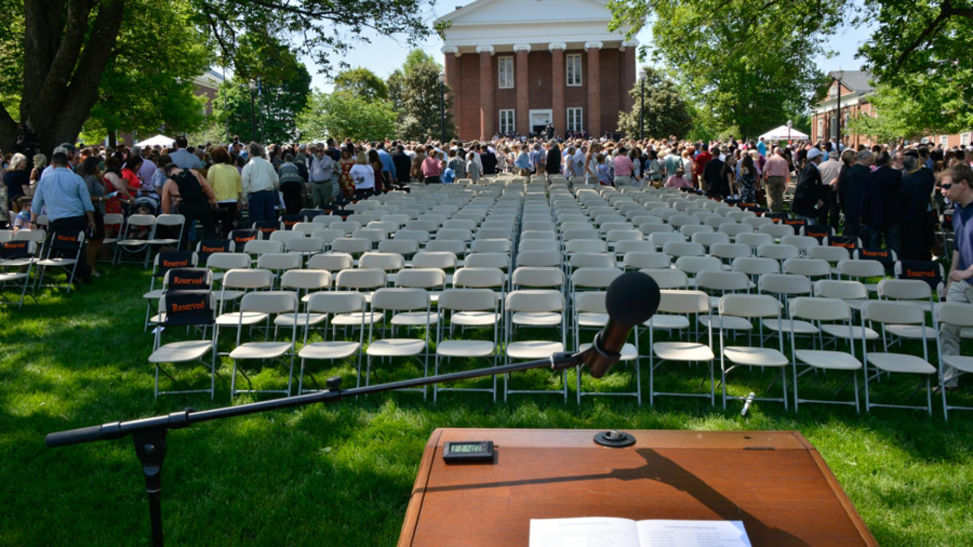 Podium overlooking Spring Commencement