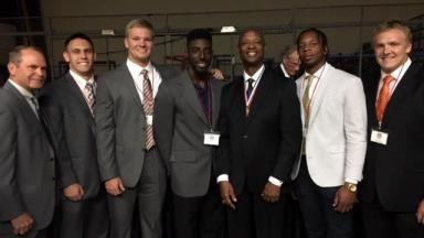 Georgetown College Football players and Coach Bill Cronin at Ky Pro Football Hall of Fame