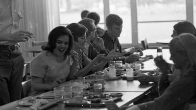 Students in the 1960s in the Caf