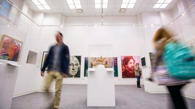 Patrons walk through Jacobs Gallery